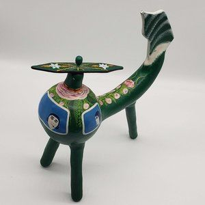 Handmade Painted Folk Art Gourd Helicopter Mexico